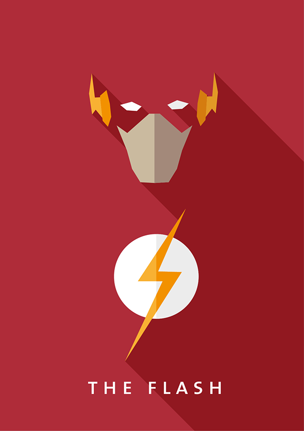 Minimalistic Flat Design Comic Hero Poster On Behance Design Comics Hero Poster Superhero Poster