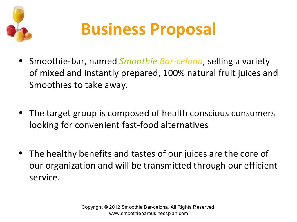 Smoothie and juice bar business plan Juice bar, Business