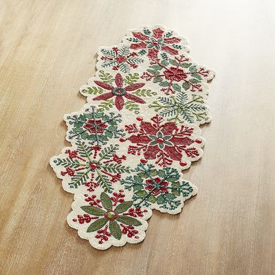 Holly Jolly Snowflakes Beaded 36 Table Runner Pier 1 Imports Christmas Table Linen Christmas Linen Table Runners
