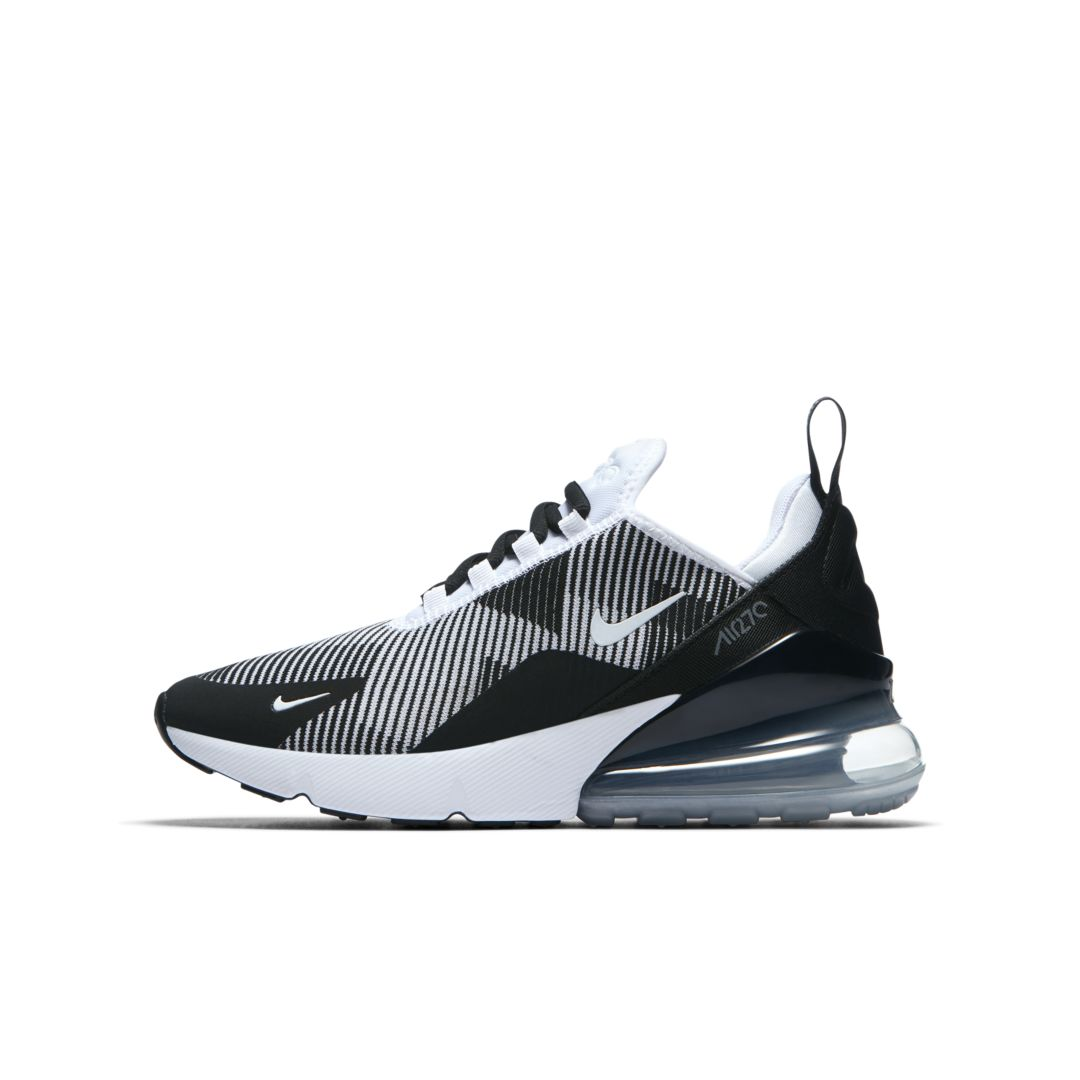 on sale 62ed2 78b92 Nike Air Max 270 Jacquard Shoe Size 5Y (Black)