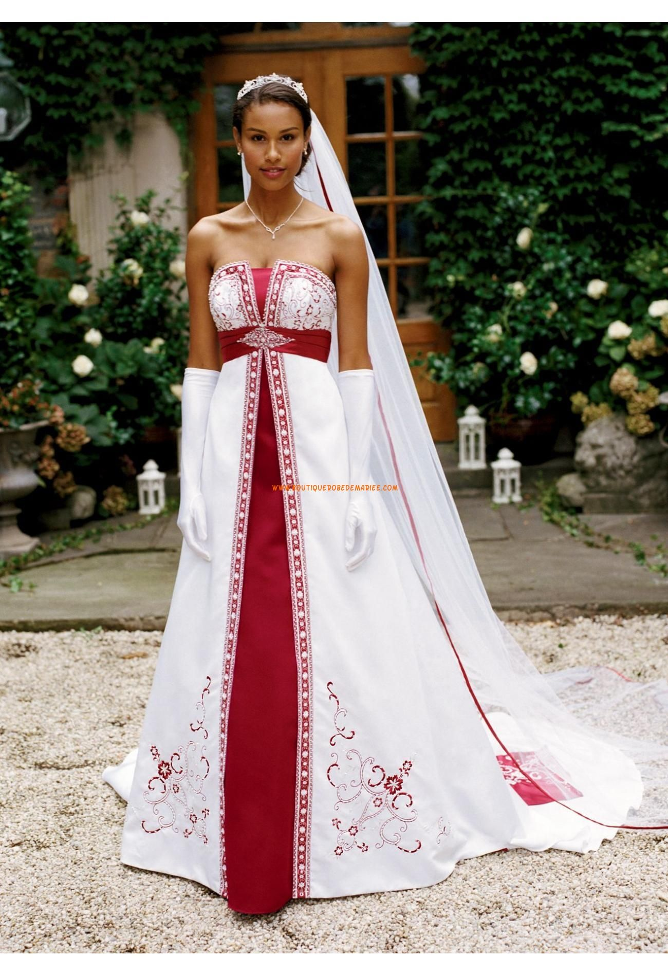 Robe mariee rouge blanche