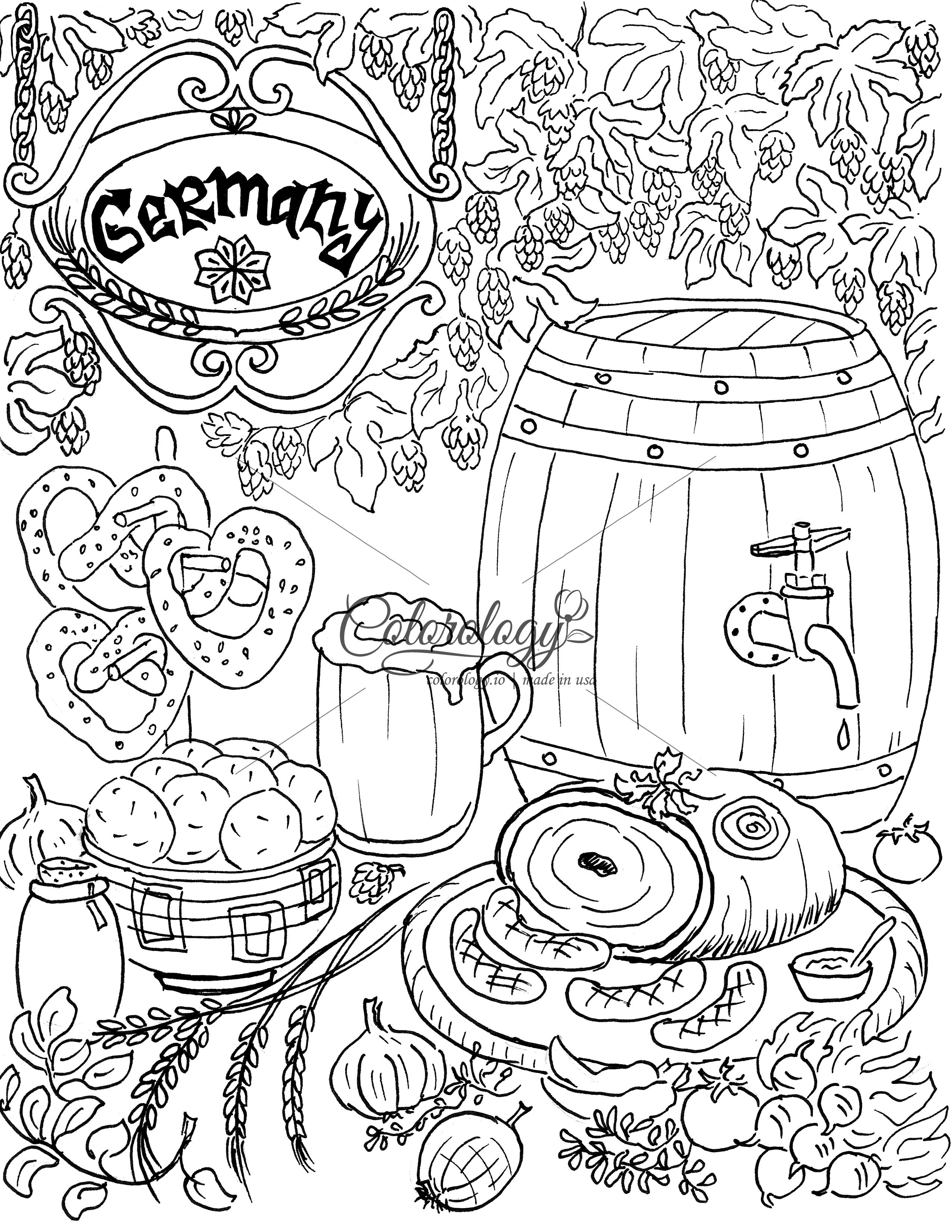 Germany Meals Around The World Quote Coloring Pages Coloring Pages Food Coloring