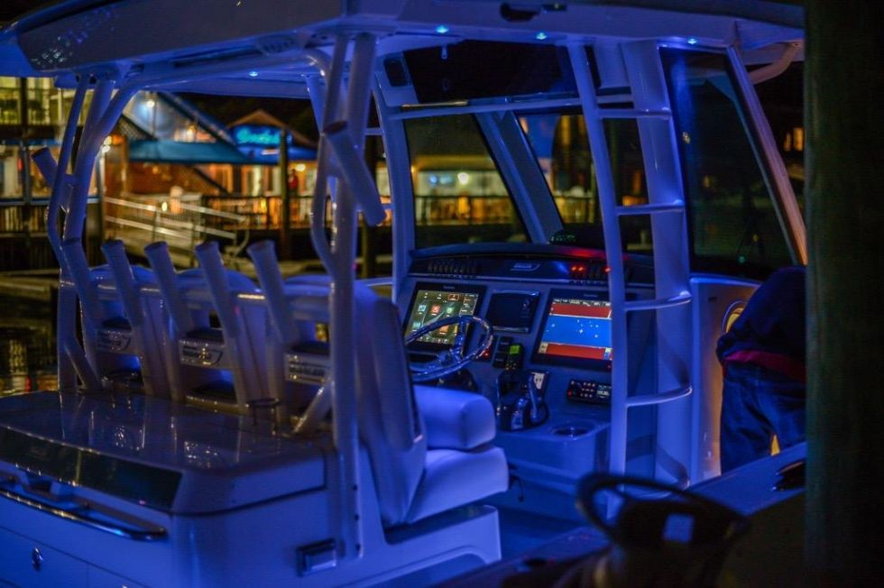 Blue lights highlighting a Boston Whaler 350 Outrage