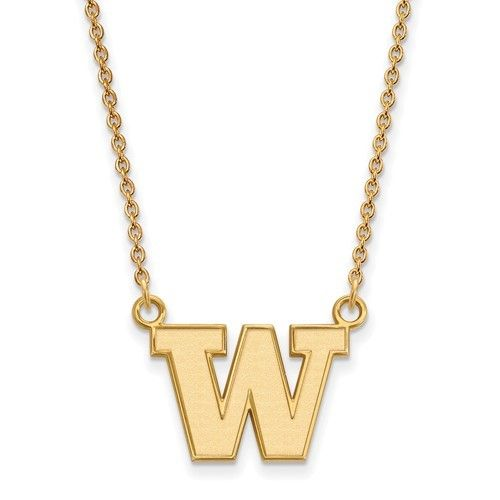 Large Enamel Pendant w//Necklace Sterling Silver LogoArt Official Licensed Collegiate 18in University of Washington UW