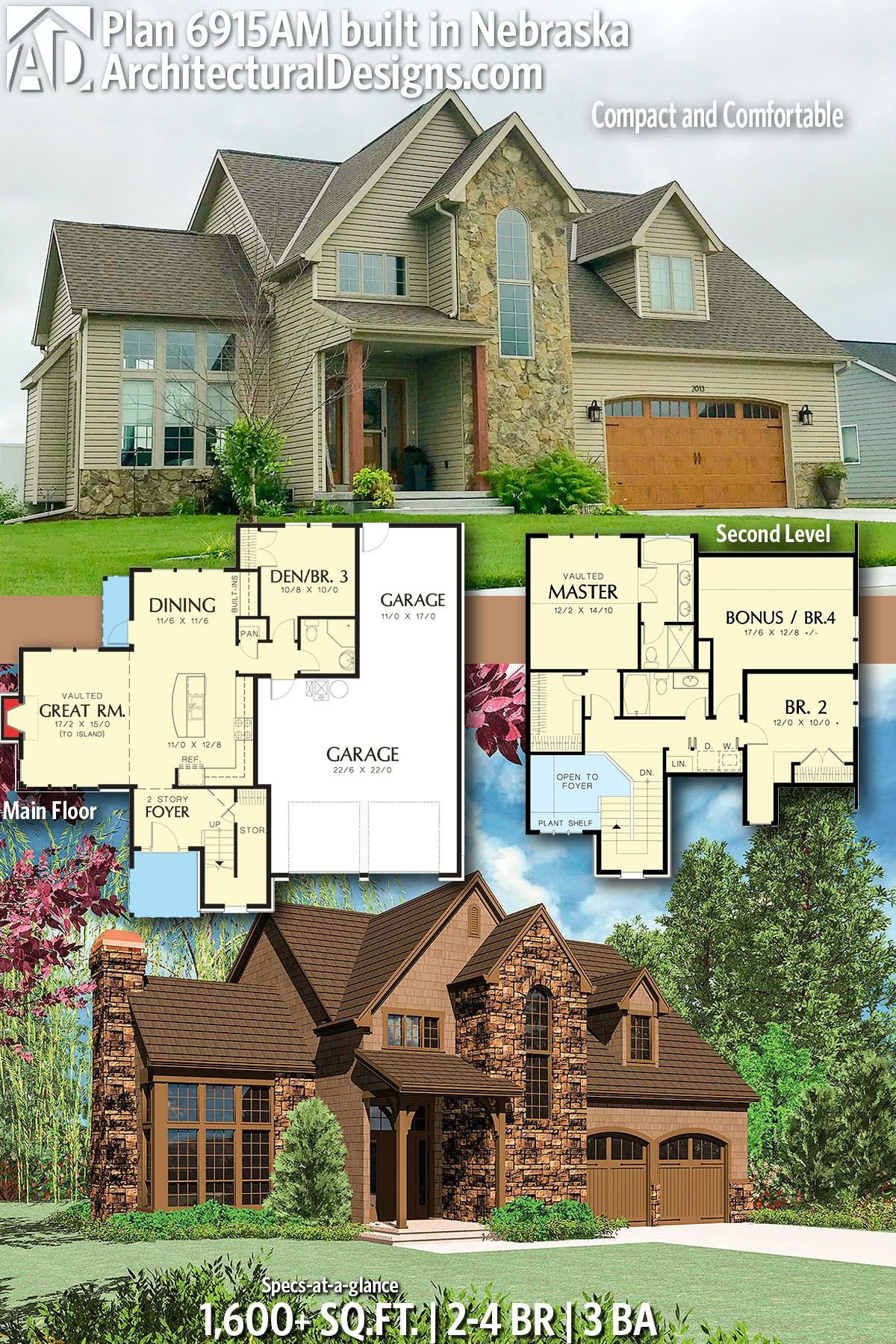 Plan 6915am Compact And Comfortable Architectural Design House Plans Sims House Plans House Floor Plans