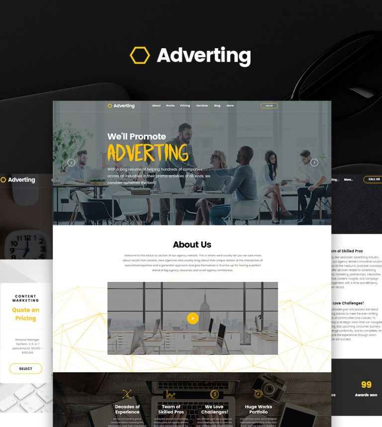 Adverting - Advertising Agency Responsive WordPress Theme ...