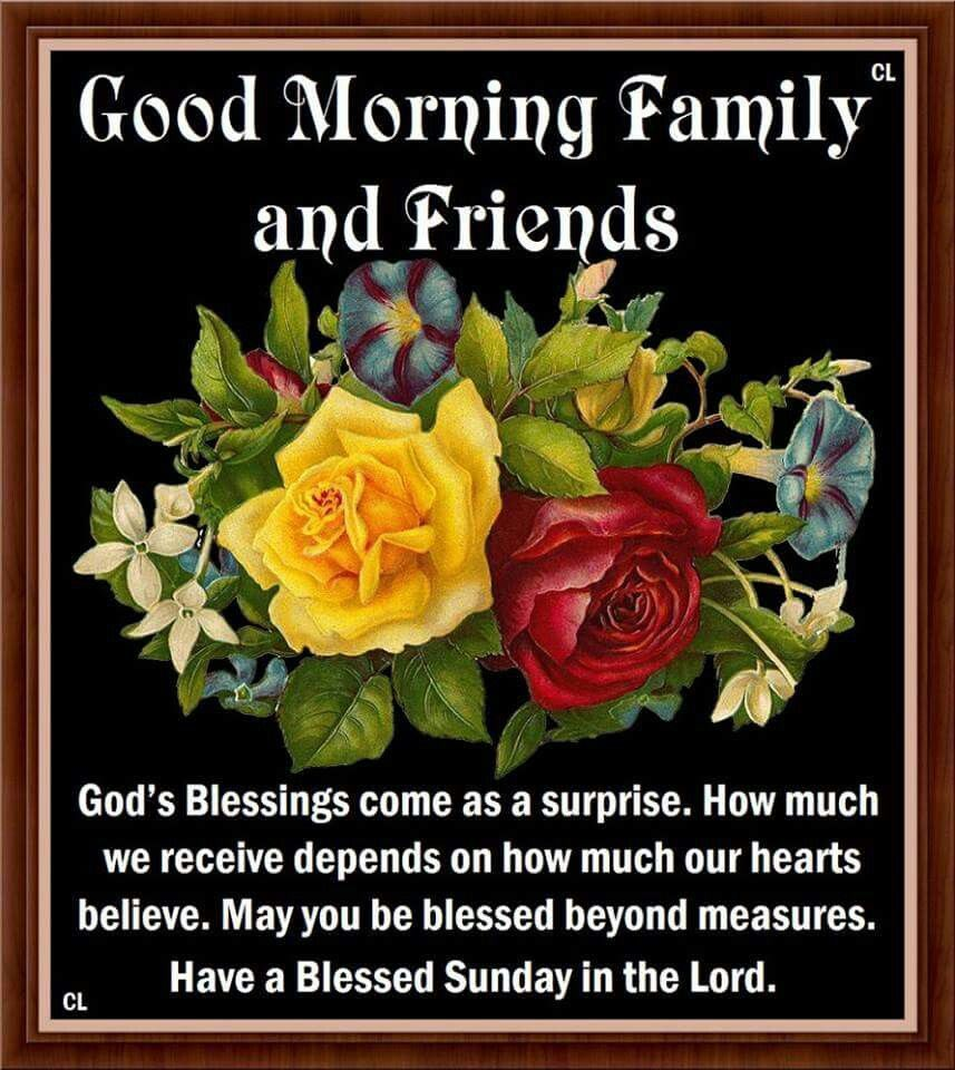 Good Morning Family And Friends Have A Blessed Sunday In The Lord