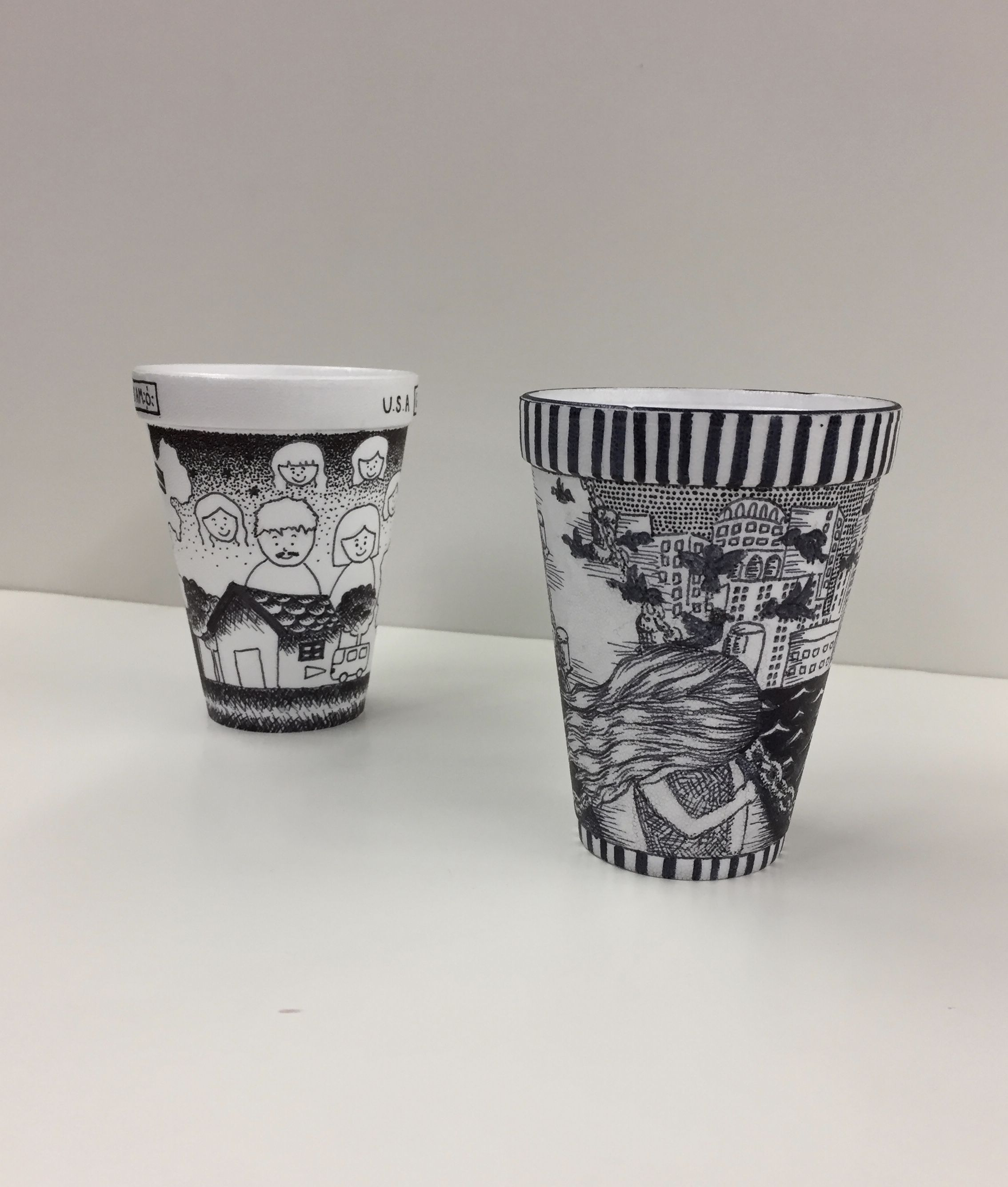 Using Cross Hatching And Stippling On Cups