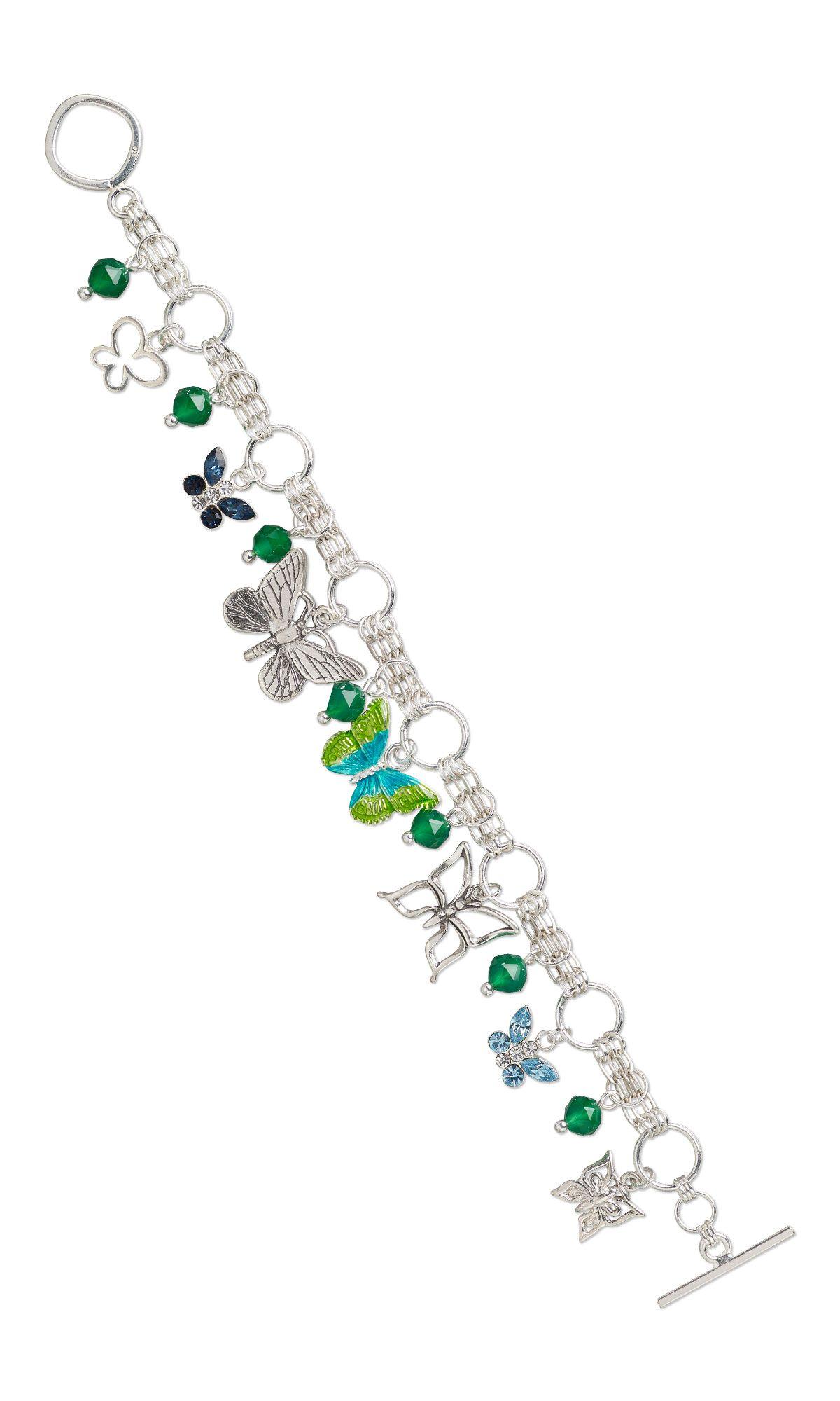 29d57d6b248 Jewelry Design - Bracelet with Sterling Silver Charms, Swarovski ...