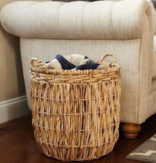 Tan Wicker Tall Round Floor Basket With Handles Laundry Storage Bathroom Decor Ottoman Floor Baskets Wicker Baskets Storage Tall Basket