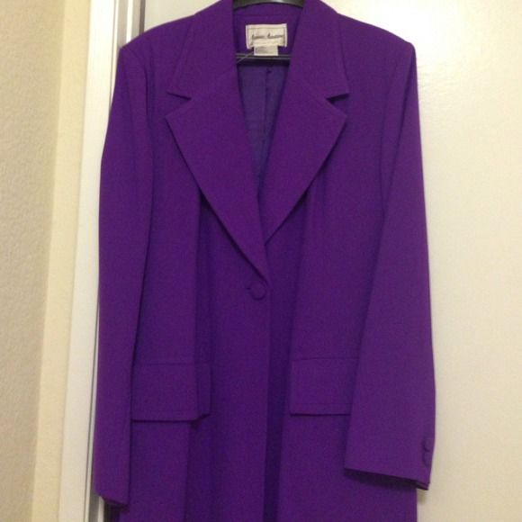 """Long Purple Lined Coat- Size 16 Long Purple Lined Coat- Size 16 . It is 49"""" long. Bust is 47-48"""". Fasten with one button in the front and two slits with 2 buttons on each sleeve. Fabric is a fine texture of crepe. Jackets & Coats"""