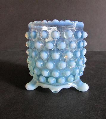 Blue glass hobnail toothpick holder