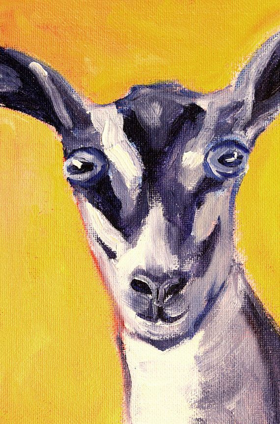 Goat Portrait, Farm Animal Painting, Small 5x7 Original Oil, Gold ...