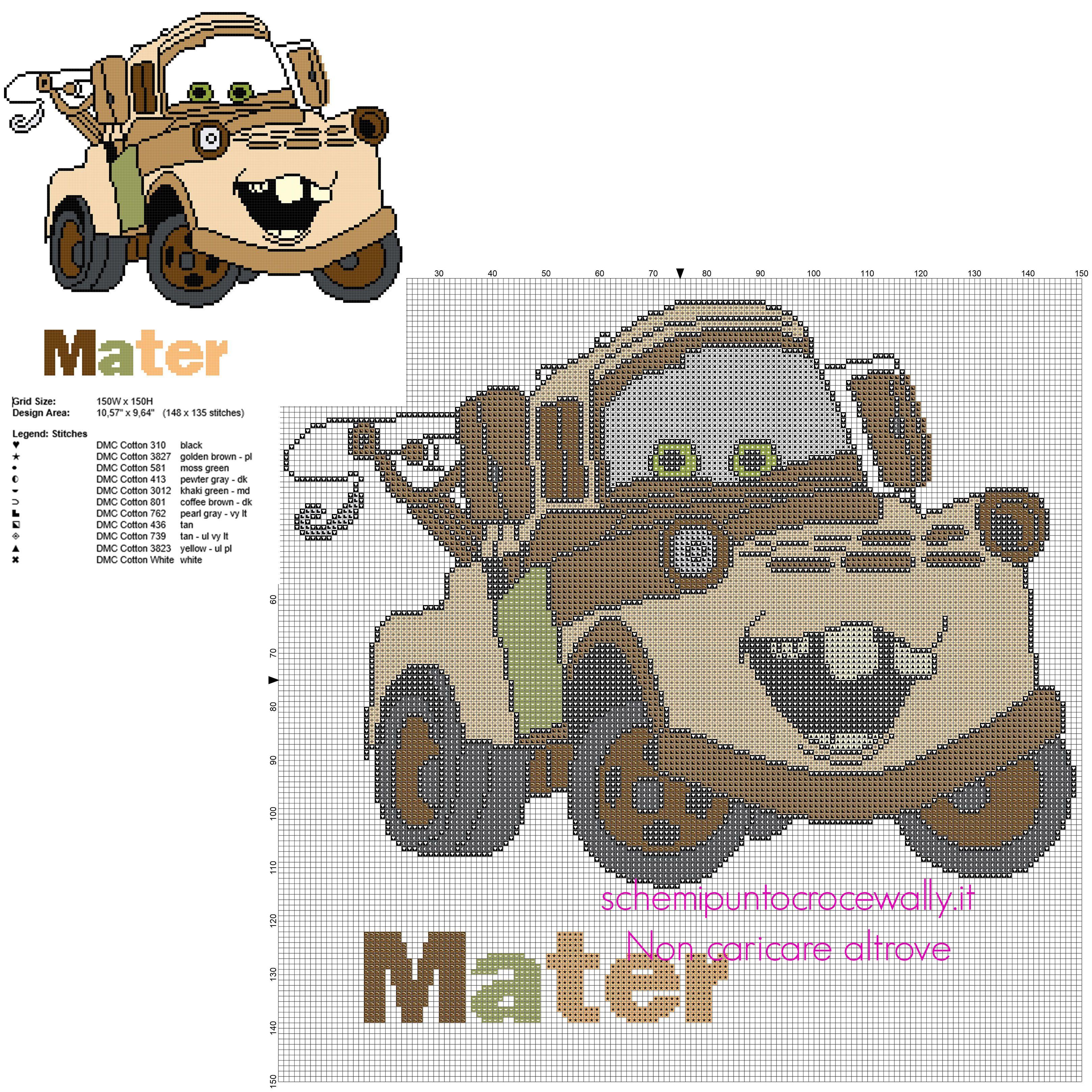 Cricchetto Carl Attrezzi personaggio Disney Cars schema punto croce ...