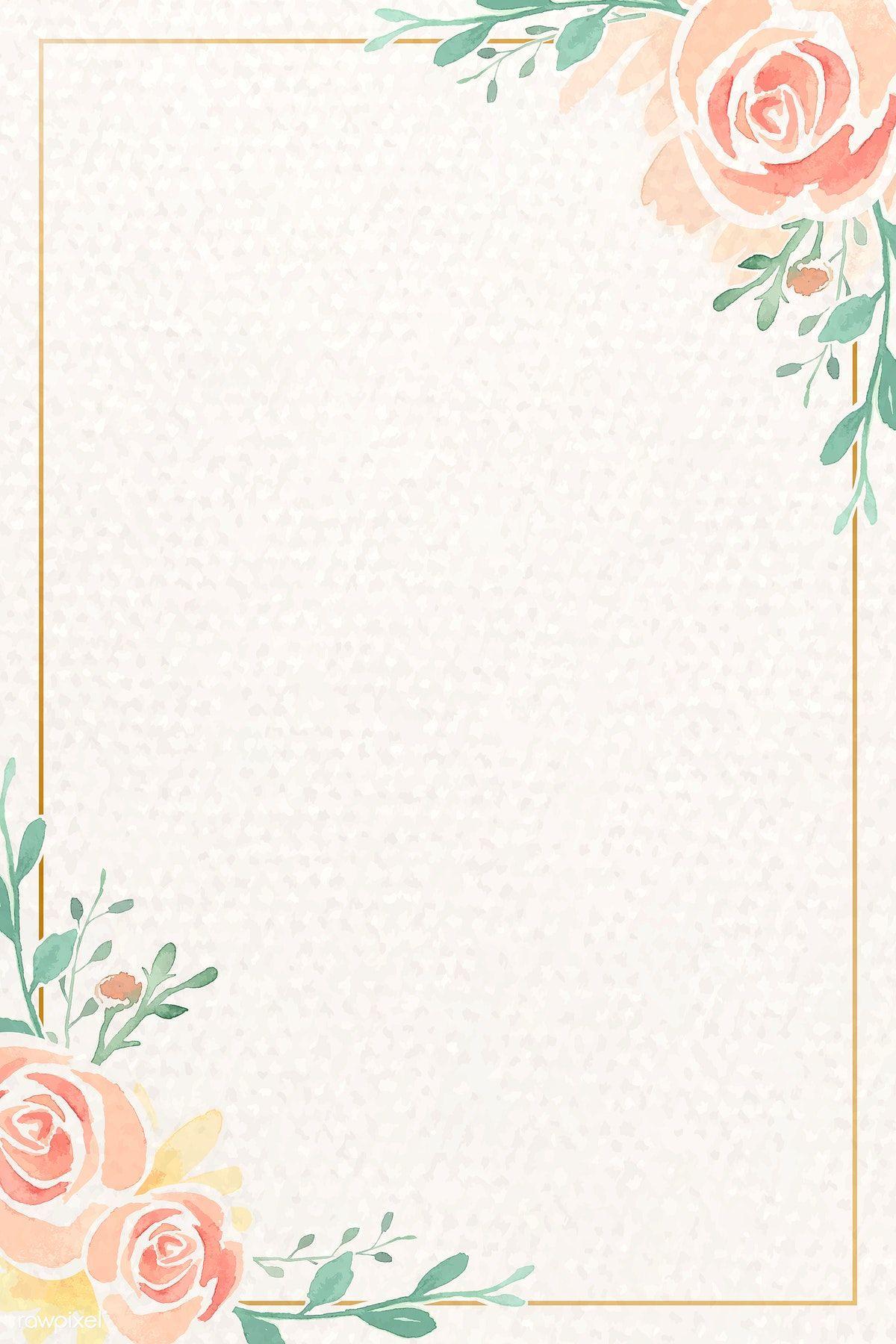 Download Premium Vector Of Vintage Watercolor Rose Themed Card Template Watercolor Rose Rose Frame Flower Illustration