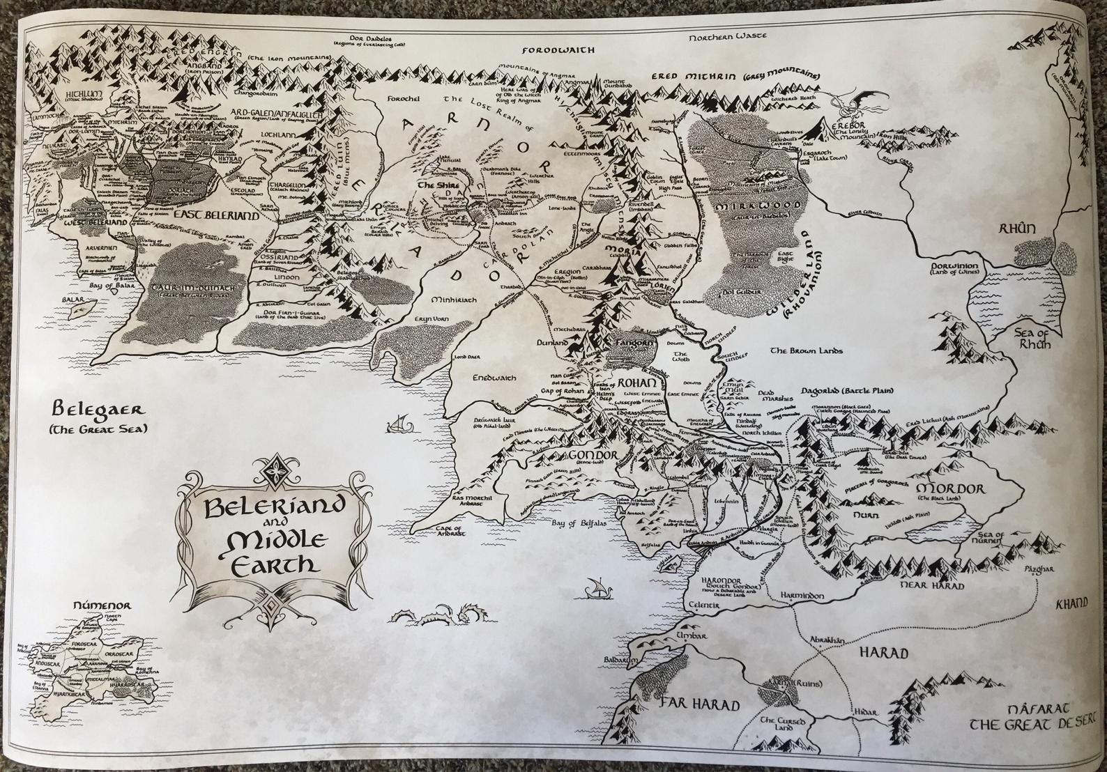 Mittelerde Beleriand Karte 24 X 36 Kostenloser Us Versand