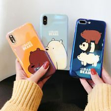 super popular d78b7 15d88 Cartoon We Bare Bears Case Metal Charms Hard Dolls Cover for iPhone ...