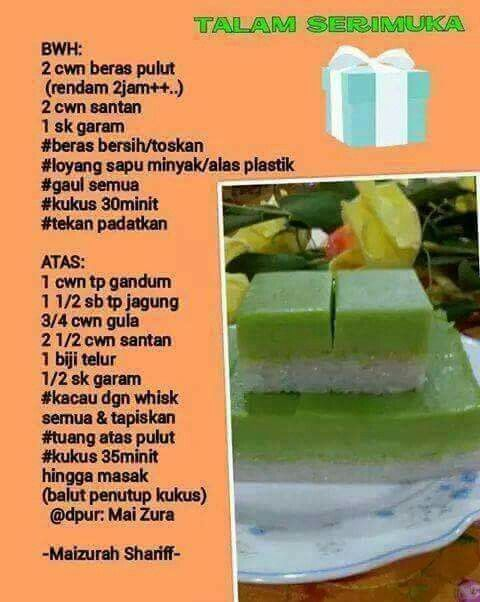 Talam Serimuka Malaysian Dessert Malay Food Traditional Cakes