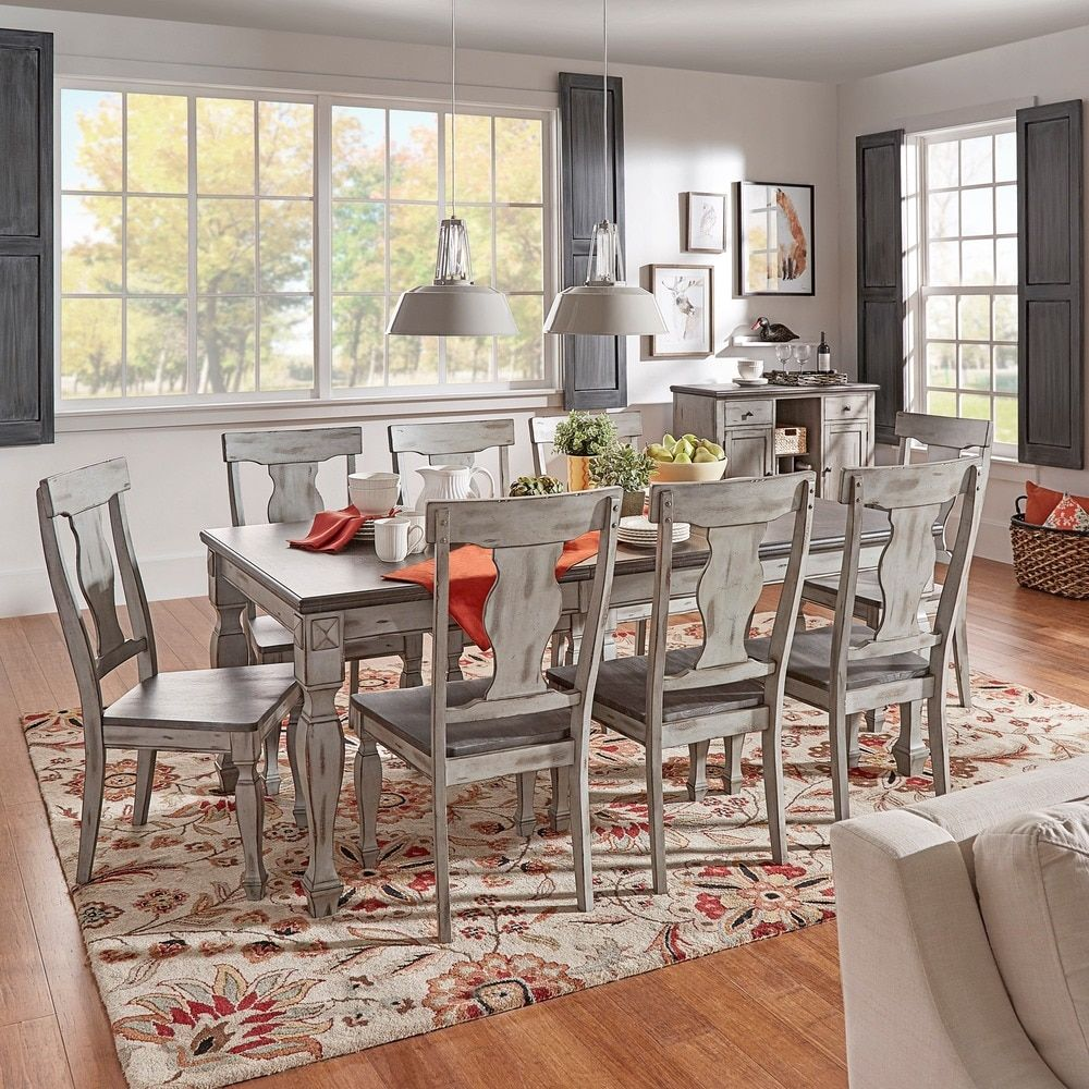 Eleanor Grey Two Tone Wood Butterfly Leaf Extending Dining Set By TRIBECCA  HOME