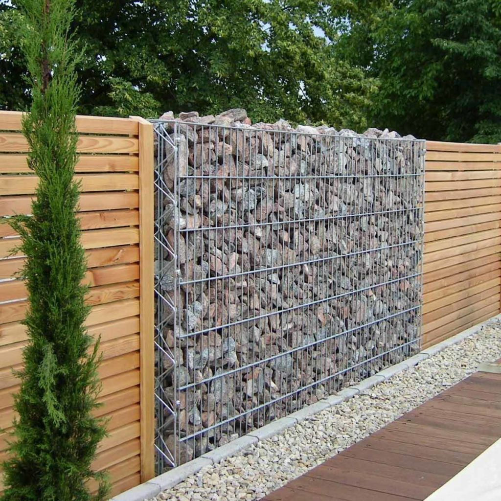 Gabion Wall Stone And Wood Fence Building A Pergola Building Raised Garden Beds Garden Structures