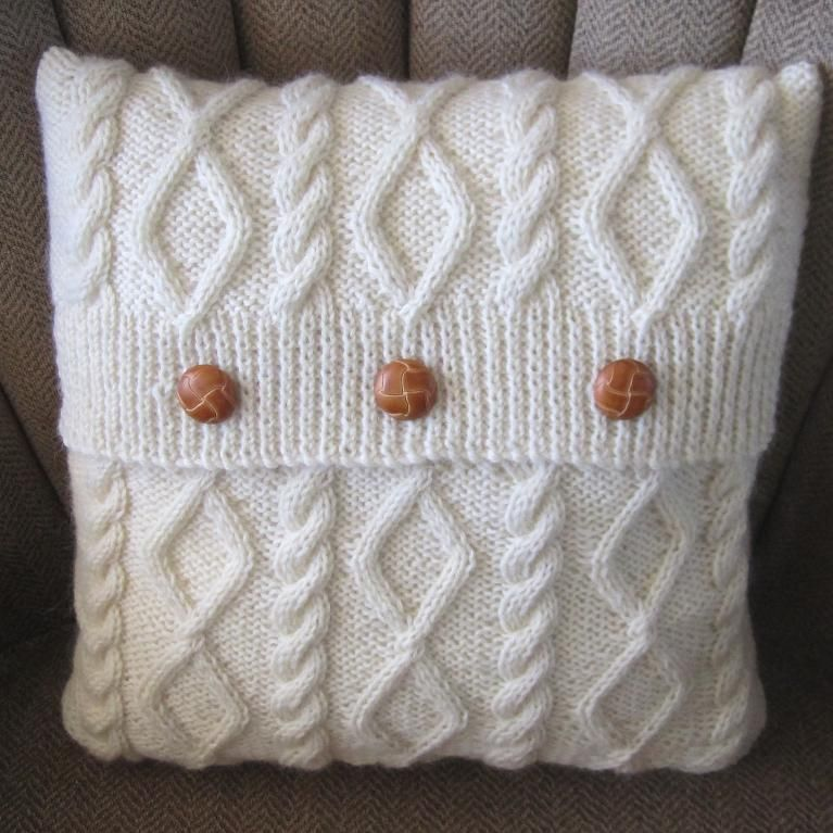Free Pattern For Cable Knit Pillow Cover: 6 Knitting Patterns to Celebrate Button Day   Cable  Pillows and    ,