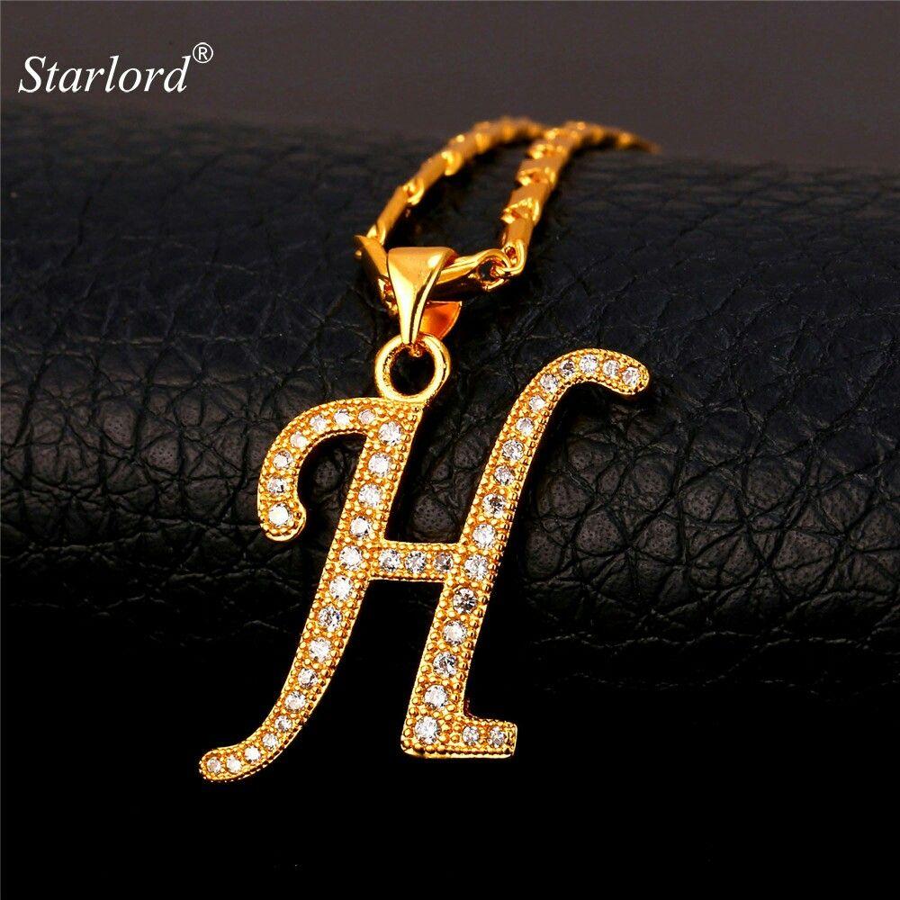 Houda Letter Pendant Necklace Alphabet Jewelry Lettering Alphabet