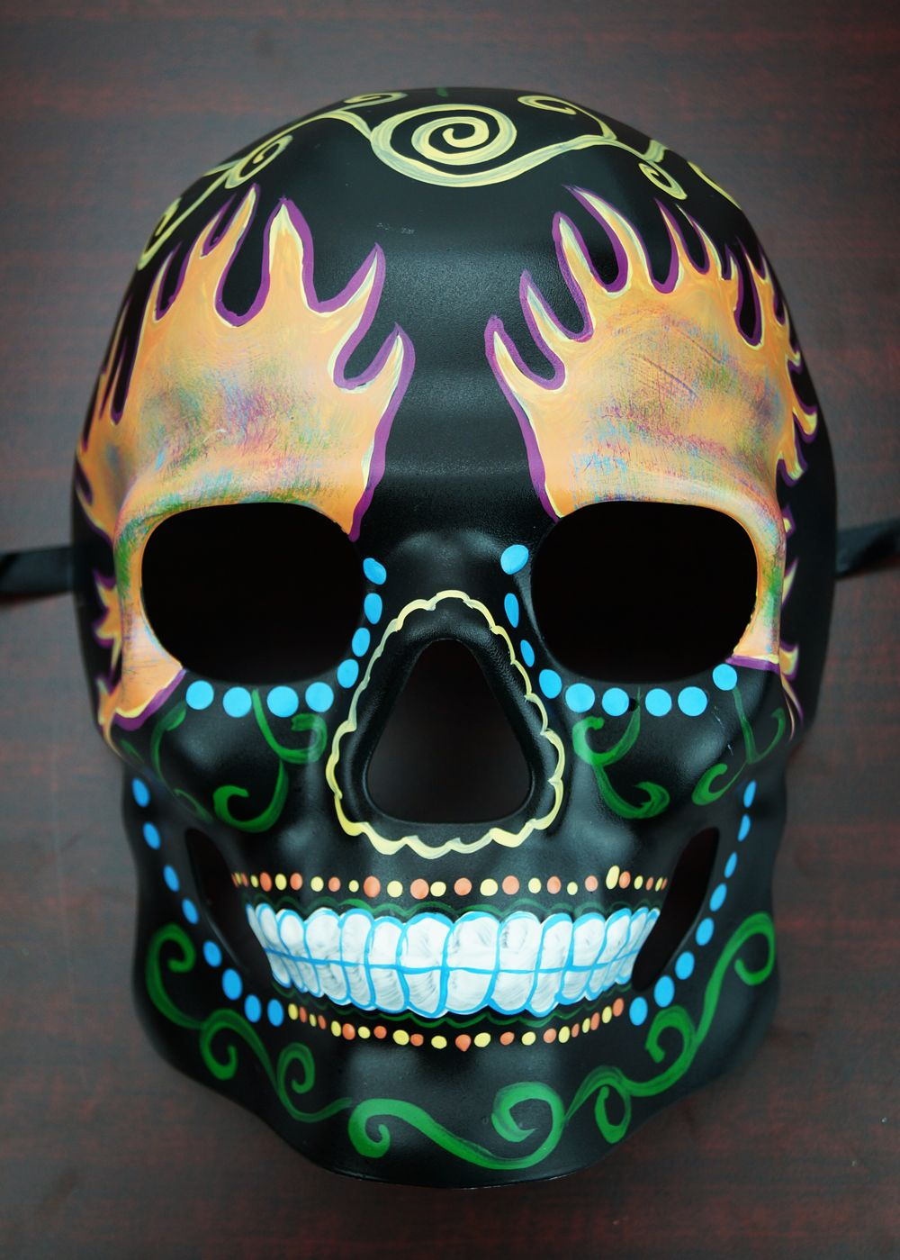 Day Of The Dead Skull Mask Fire | Sugar Skull Living Room ...