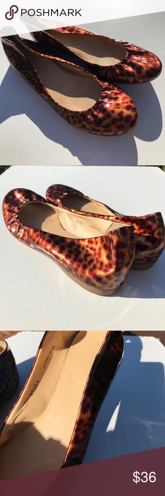 J. Crew Patent Leather Leopard Ballet Flats 7 Light wear. J. Crew Shoes Flats & Loafers