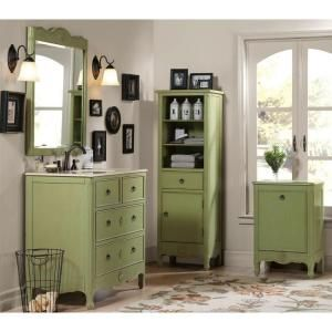 Home Decorators Collection Keys 36 In. W Vanity With Marble Vanity Top In  Distressed Pear Green 0425310610   The Home Depot