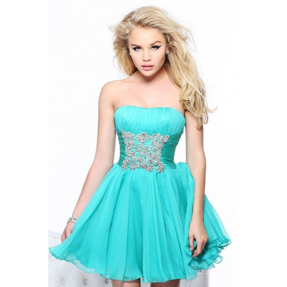 turquoise dresses | ... line Strapless Beading Ruched Satin Tulle ...