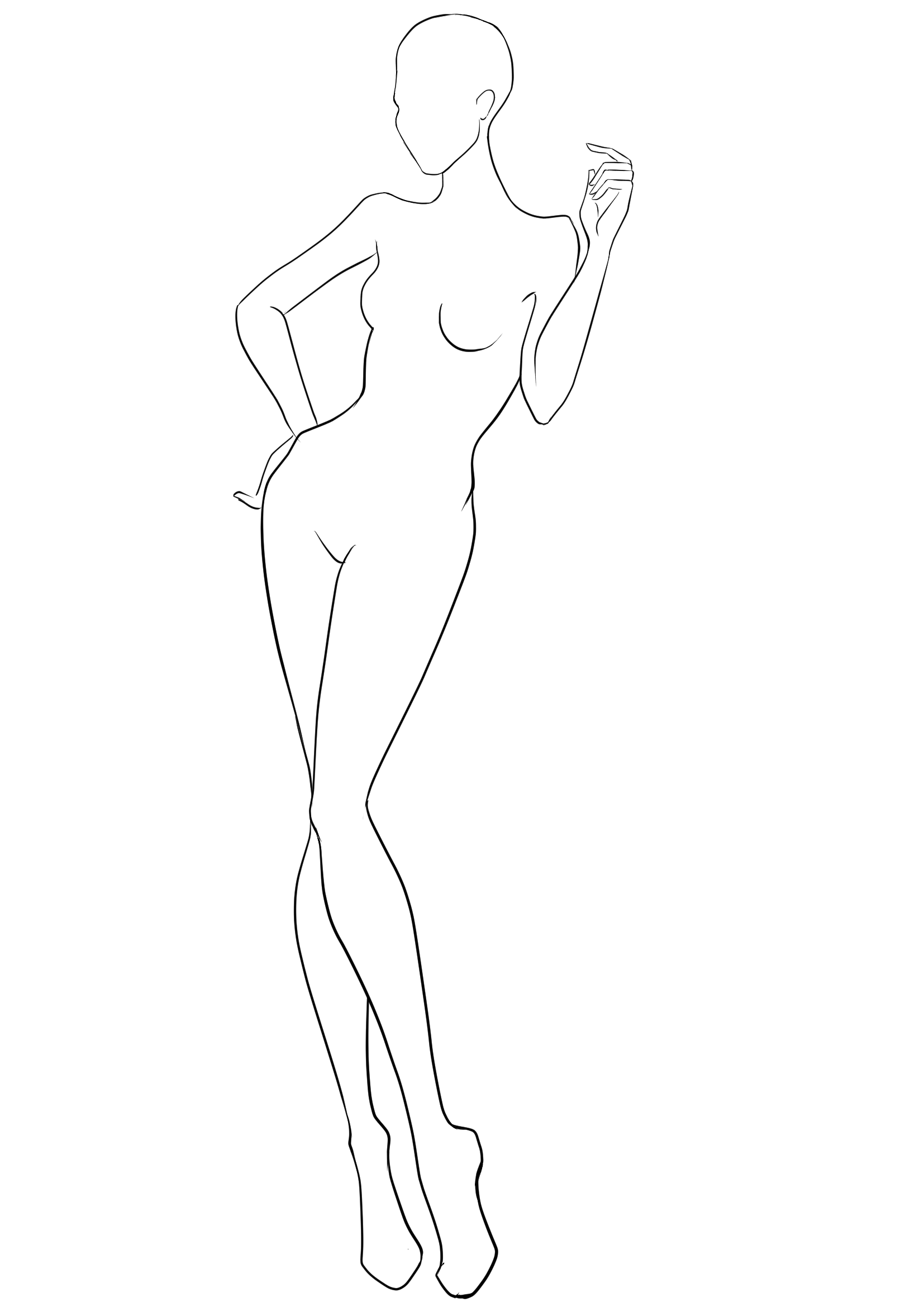 Fashion Figure Template For Design Drawing 38 Otlined Body