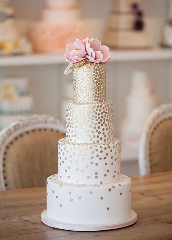 Blog OMG - I\'m Engaged! - Bolo de casamento em dourado e branco, com ...