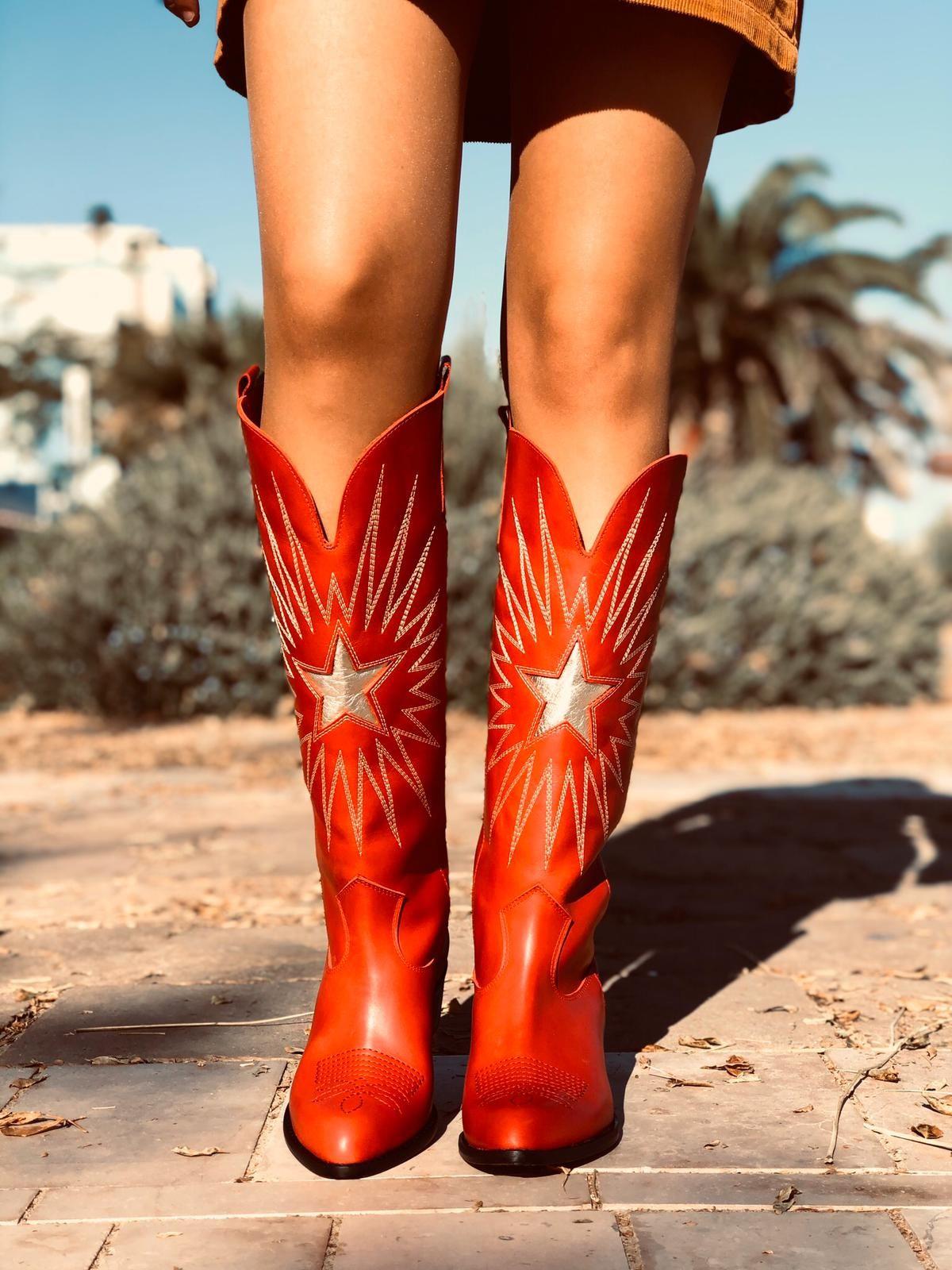 Stivali Texani Donna Rossi in Pelle Tacco Alto Made in Italy
