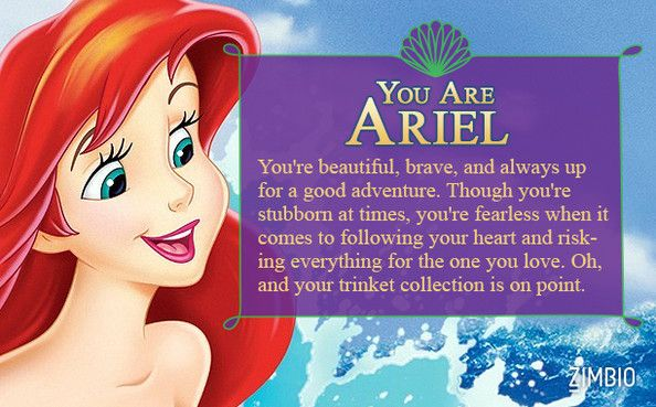 I took Zimbio's 'Little Mermaid' quiz and I'm Ariel! Who are you?