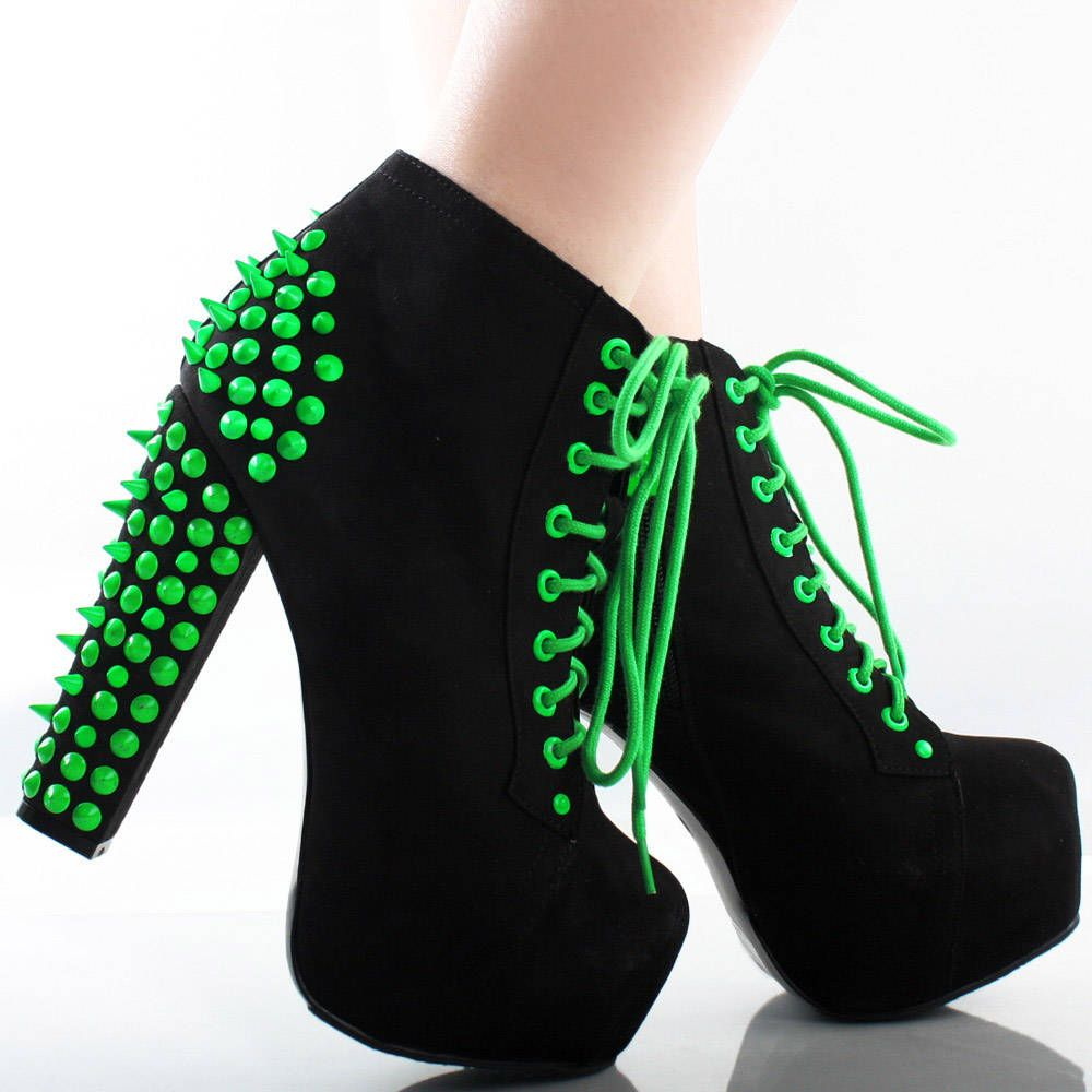 f51edc605db Black Neon Green Suede Spike Stud Lace Up Chunky Heel Platform