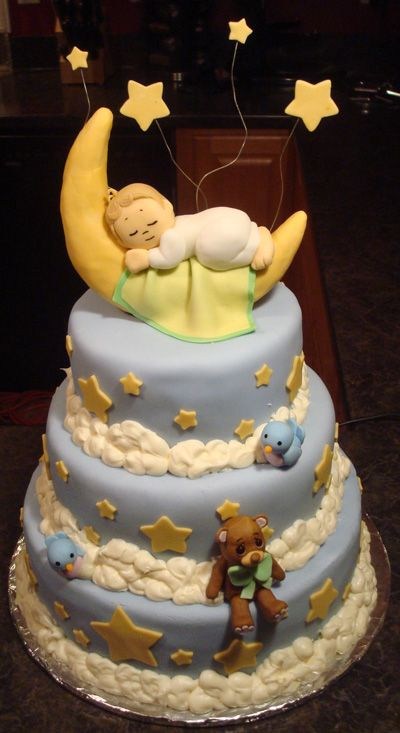 Cakes With Moons Precious Moments Baby Shower Cakes Pinterest