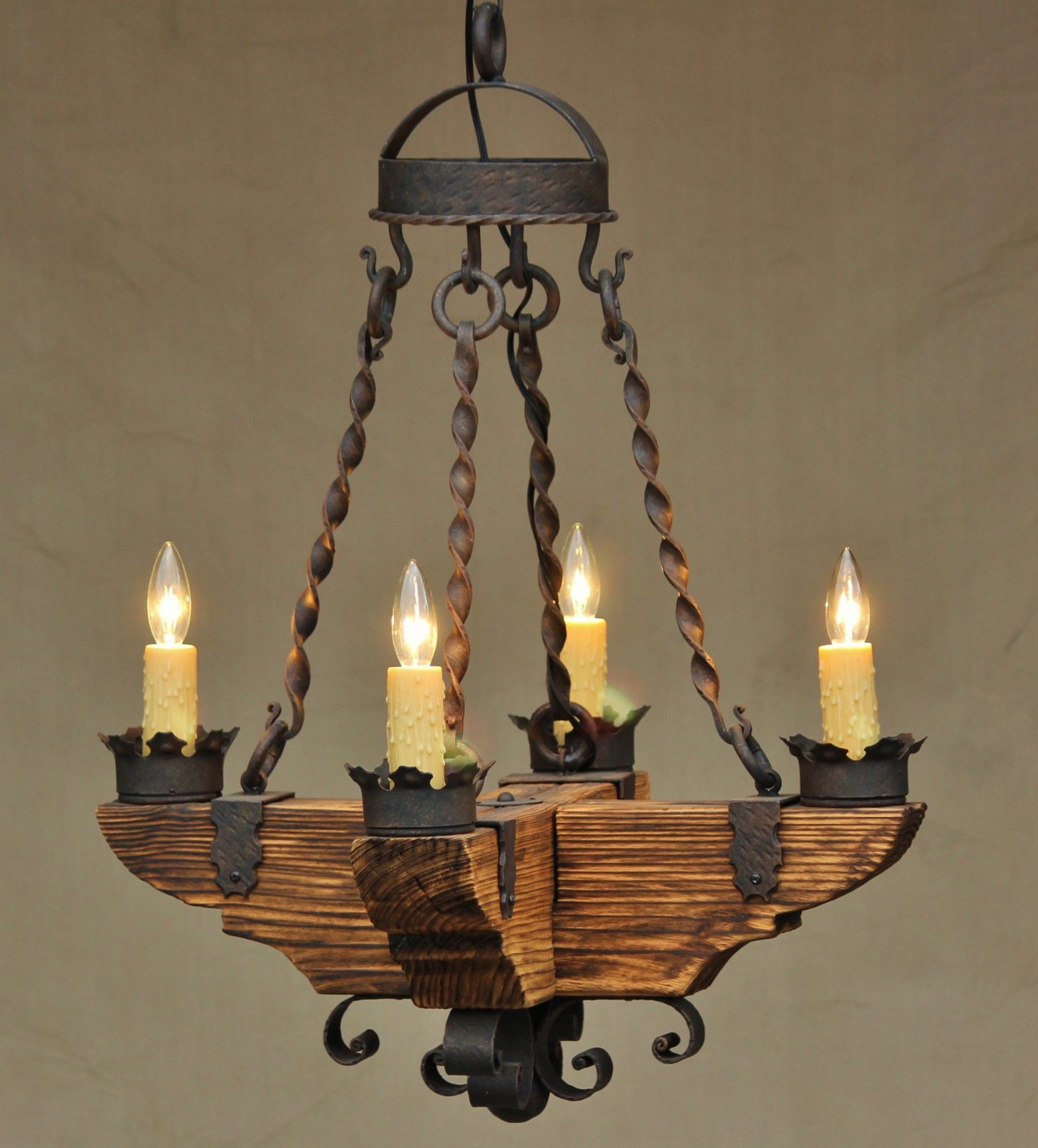 Country italian log cabin tuscan chandelier hand forged for Log cabin chandelier