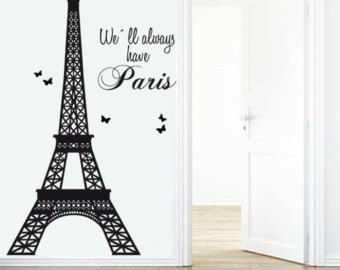 Vinyl Paris Wall Decal, Paris Decal, Paris Decor, Eiffel Tower Wall Decal,