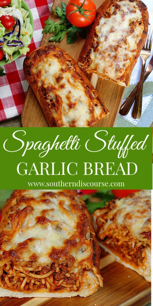 This easy, baked spaghetti stuffed garlic bread makes a great family dinner! Crisp garlic bread stuffed with homemade, cheesy spaghetti made with beef and sausage will turn dinner time into Italian bistro night! #southerndiscourse #homemade #bakedspaghetti #outofthisworld #milliondollarThis #easy, #baked #spaghetti #stuffed #garlic #bread #makes #a #great #family #dinner! #Crisp #garlic #bread #stuffed #with #homemade, #cheesy #spaghetti #made #with #beef #and #sausage #will #turn #dinner #time