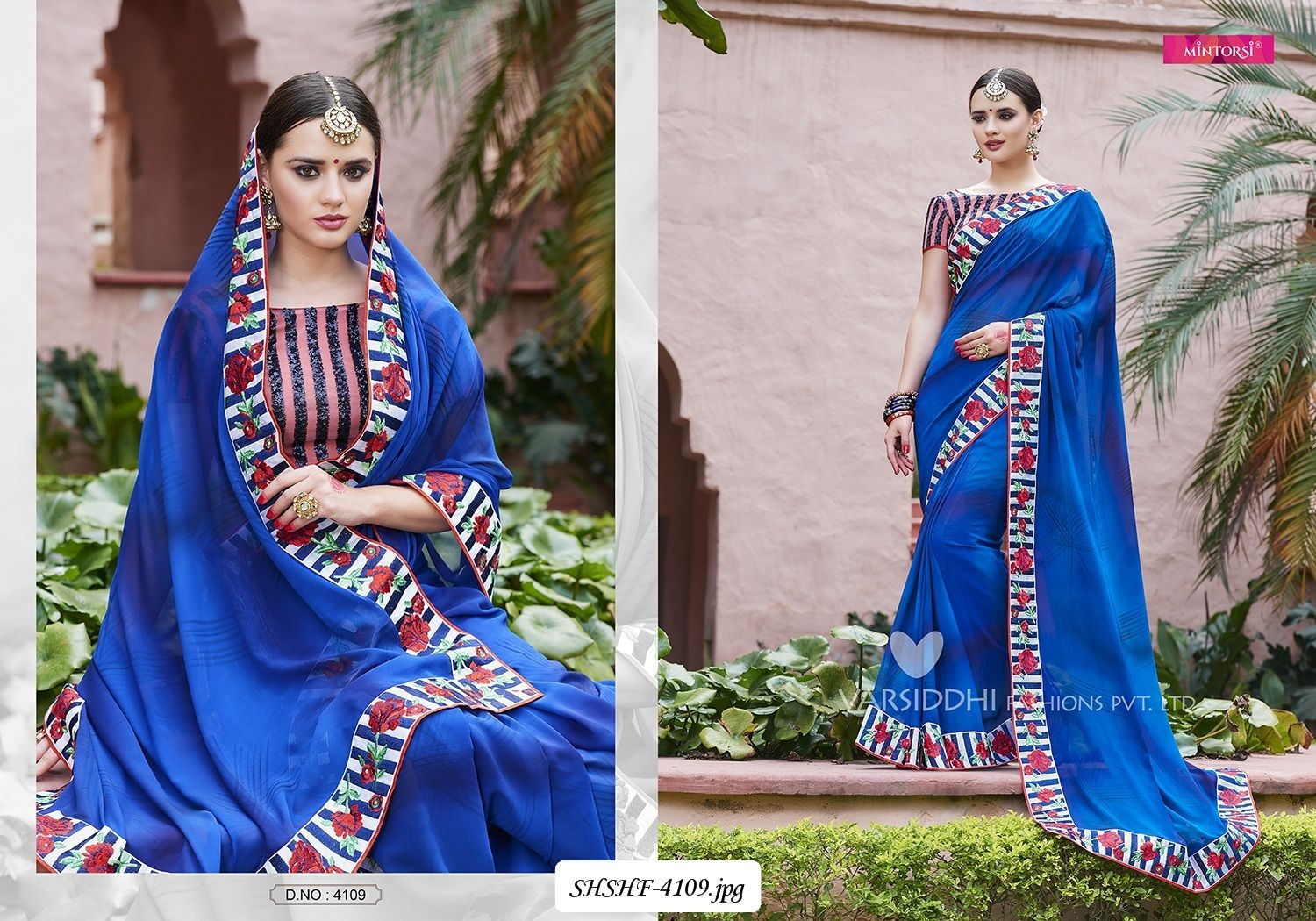 75429f7a935700 Work  Heavy Embroidered Work on blouse with beautiful lace border ...