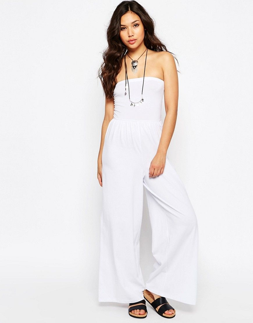95f30edb62c Image 1 of ASOS Bandeau Jersey Jumpsuit with Wide Leg