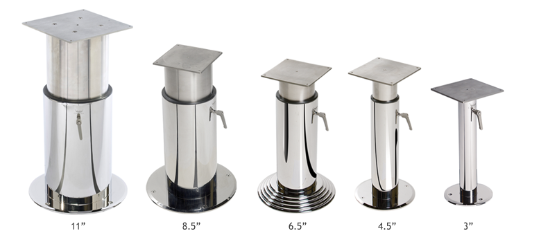 Crown Ltd   Yacht Table Pedestals   Telescoping U0026 Fixed Height Stainless  Steel | Crown Ltd
