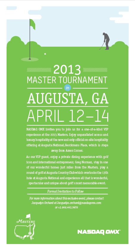 invitation ideas nasdaqs masters tournament event golf