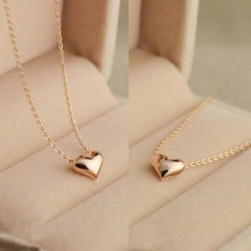Simple Design Exquisite Gold Color Chain Heart Love Pendant Girl Neckless Gold Neck Chain Gold Jewelry Simple Short Necklace