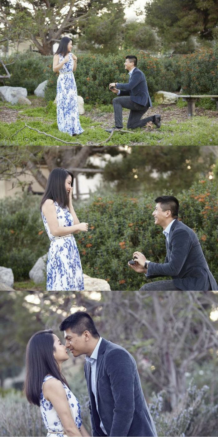 Andy and poushali 39 s proposal on the knot 39 s howtheyasked - Manhattan beach botanical garden ...