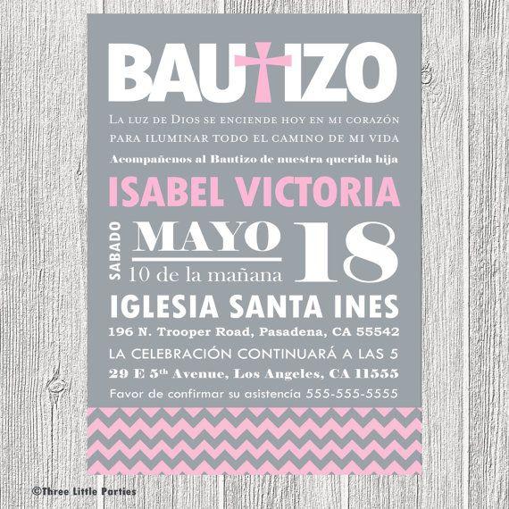 Spanish Baptism Invitation Printable Chevron Invitacion de Bautizo