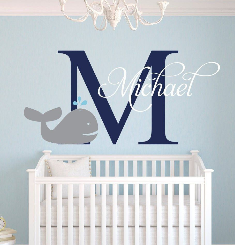Customize Nautical Whale Baby Name Cute Elephant Wall Stickers For Boys Bedroom Kids Room Baby Wall Decals Diy Vinyl Jw009a Pixdora Nautical Baby Room Whale Baby Room Baby Wall Decals