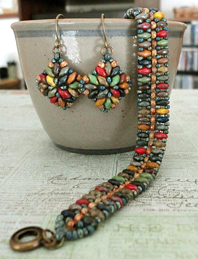 Mystery SuperDuo Bracelet & Corundum Earrings Set - Rembrandt Mix