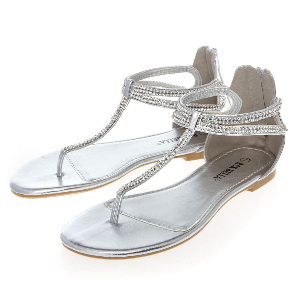Flat rhinestone sandals for wedding - Women Silver Open Toe Rhinestone Thong Gladiator Flat Sandal Bridal Wedding Shoe