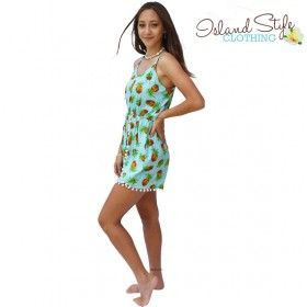 31ac89f538a Pale Blue Pineapple Pom Pom Jumpsuit Tropical Teen Clothing. Cute outfit  for beach